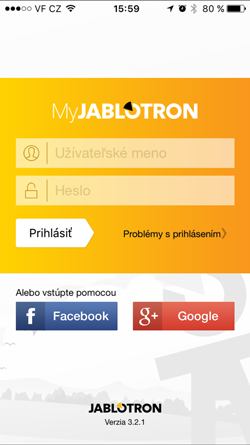 MyJablotron prihlásenie